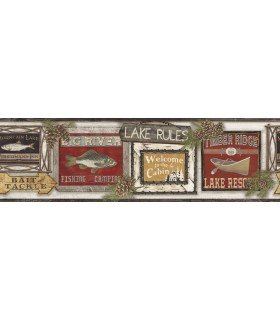 LG1450BD - Rustic Living by York - Lake Rules Wallpaper Border
