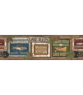 LG1451BD - Rustic Living by York - Lake Rules Wallpaper Border