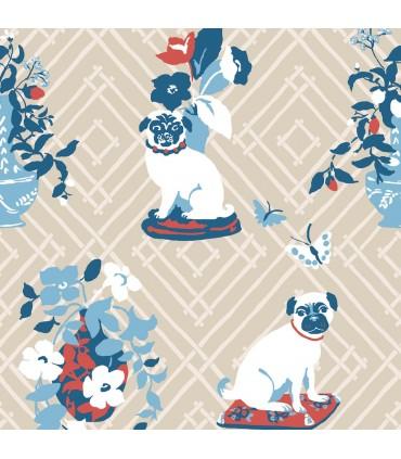 MC0400 - Madcap Cottage Wallpaper-Manor Born Pug Dogs