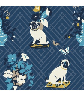 MC0401 - Madcap Cottage Wallpaper-Manor Born Pug Dogs