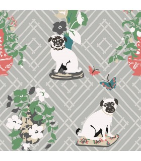 MC0402 - Madcap Cottage Wallpaper-Manor Born Pug Dogs