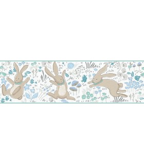 LK8270BD - Young at Heart Wallpaper Border-Garden Frolic-Rabbits