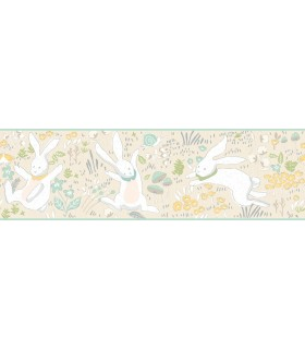 LK8271BD - Young at Heart Wallpaper Border-Garden Frolic-Rabbits