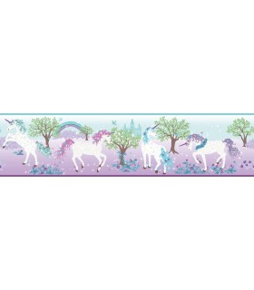 LK8285BD - Young at Heart Wallpaper Border-Magic Unicorn Border