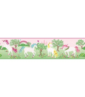 LK8286BD - Young at Heart Wallpaper Border-Magic Unicorn Border