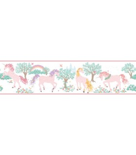 LK8287BD - Young at Heart Wallpaper Border-Magic Unicorn Border