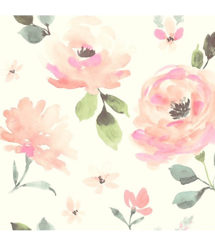 LK8318 - Young at Heart Wallpaper-Watercolor Blooms
