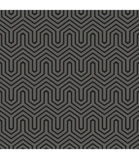 GE3716 - Ashford Geometrics Flocked Wallpaper-Labyrinth