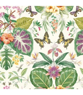 ON1600 - Outdoors In Wallpaper by York - Tropical Butterflies