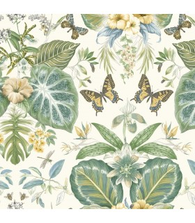 ON1601 - Outdoors In Wallpaper by York - Tropical Butterflies
