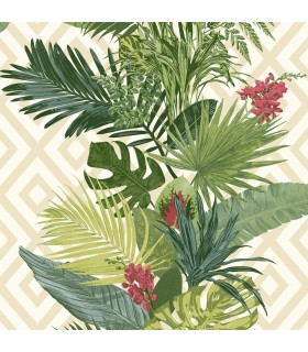 ON1627 - Outdoors In Wallpaper by York - Tropical Oasis Stripe
