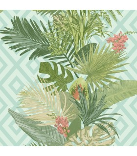 ON1628 - Outdoors In Wallpaper by York - Tropical Oasis Stripe