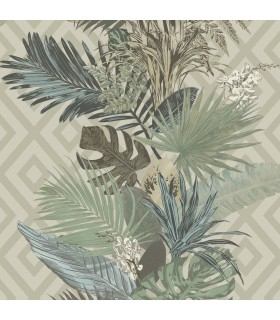ON1630 - Outdoors In Wallpaper by York - Tropical Oasis Stripe
