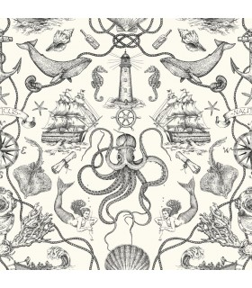 HO3360 - Tailored Wallpaper by York - Deep Sea Toile