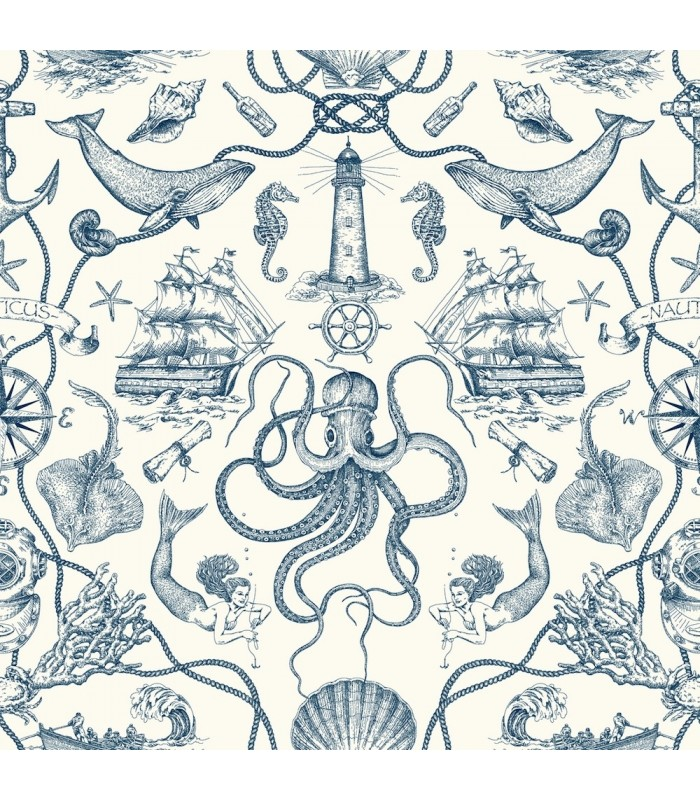 HO3361 - Tailored Wallpaper by York - Deep Sea Toile