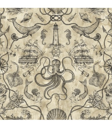 HO3362 - Tailored Wallpaper by York - Deep Sea Toile