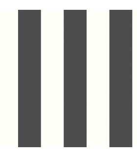 RMK11082WP - Peel and Stick Wallpaper-Awning Stripe-Black
