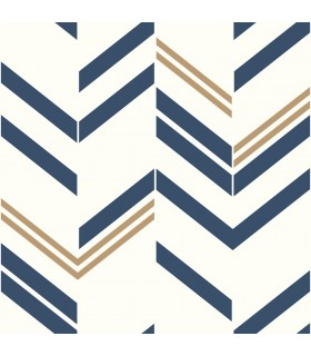 RMK9002WP - Peel and Stick Wallpaper-Blue Chevron Stripe
