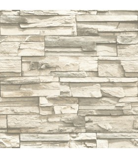 RMK9026WP - Peel and Stick Wallpaper-Stacked Stone