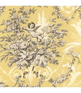 CH22539 - Manor House Wallpaper by Norwall-Floral With Cherub