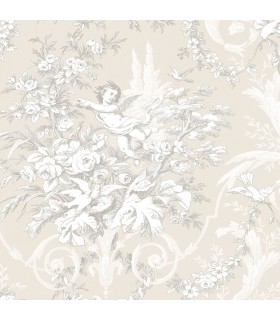 CH22540 - Manor House Wallpaper by Norwall-Floral With Cherub