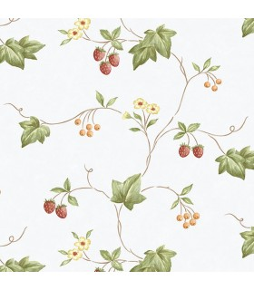 KK26752 - Creative Kitchens Wallpaper by Norwall-Flowers and Strawberries