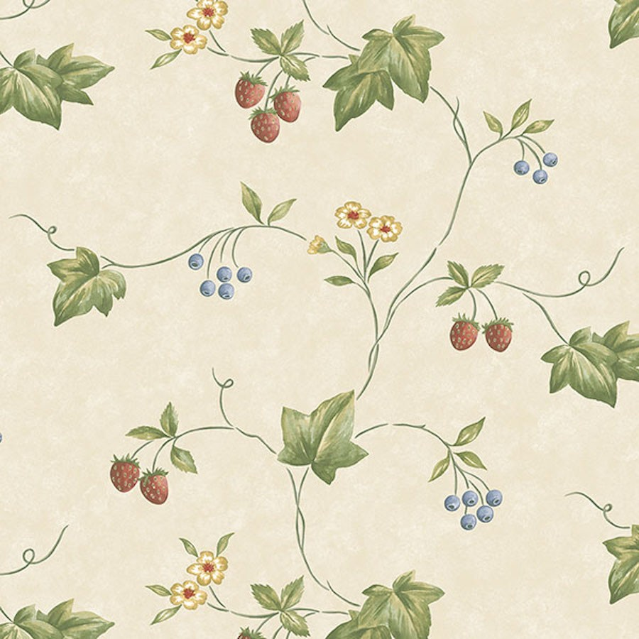 Ke29900 Creative Kitchens Wallpaper By Norwall Flowers And Strawberries Wallpaper The Home