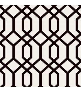 FD23270 - Brewster Essentials Wallpaper-Trellis Black Montauk
