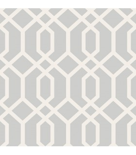 FD23271 - Brewster Essentials Wallpaper-Trellis Grey Montauk