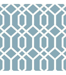 FD23272 - Brewster Essentials Wallpaper-Trellis Blue Montauk