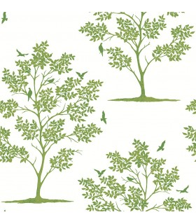 FD23282 - Brewster Essentials Wallpaper-Woodland Green Trees and Birds