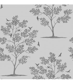 FD23283 - Brewster Essentials Wallpaper-Woodland Grey Trees and Birds