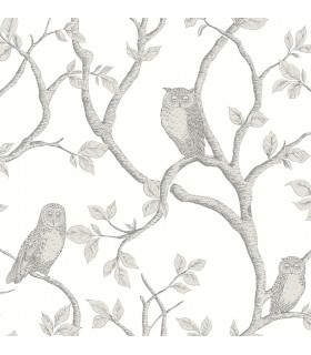 FD23289 - Brewster Essentials Wallpaper-Enchanted Forest Grey Owl and Tree