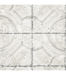 3115-12431 - Farmhouse Wallpaper-Vintage Tin Tile
