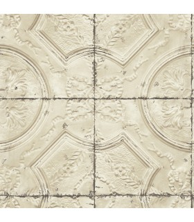3115-12434 - Farmhouse Wallpaper-Vintage Tin Tile