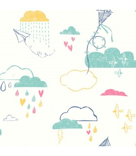 WI0125 - Dream Big Wallpaper by York - Kites in the Clouds