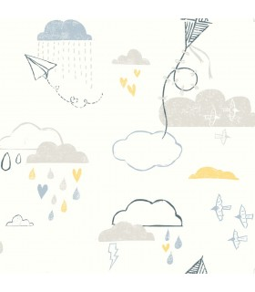 WI0127 - Dream Big Wallpaper by York - Kites in the Clouds
