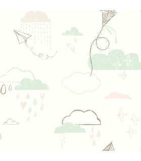 WI0128 - Dream Big Wallpaper by York - Kites in the Clouds