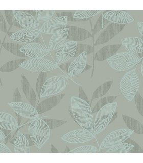 2793-87323 - Celadon Wallpaper by A-Street Prints-Chimera Flocked Leaf