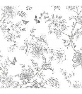 FH37540 - Farmhouse Living Wallpaper by Norwall -Butterfly Toile