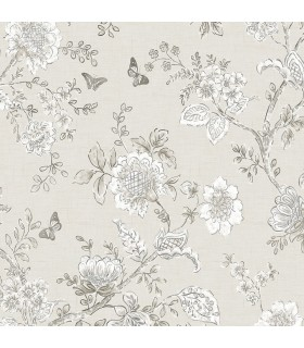 FH37541 - Farmhouse Living Wallpaper by Norwall -Butterfly Toile