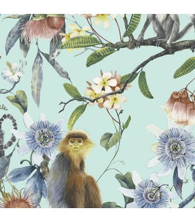 G67957 - Organic Textures Wallpaper by Patton-Tropical Floral with Monkeys