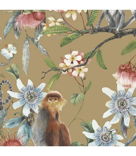 G67958 - Organic Textures Wallpaper by Patton-Tropical Floral with Monkeys