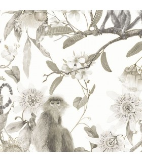 G67959 - Organic Textures Wallpaper by Patton-Tropical Floral with Monkeys
