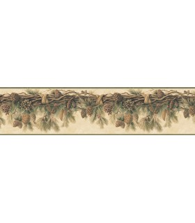 3118-01391B - Birch and Sparrow Wallpaper by Chesapeake-Pinecone Border
