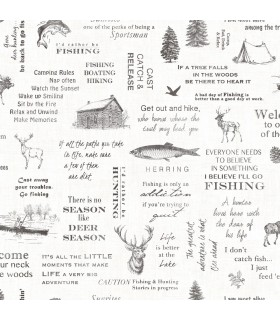 3118-01475 - Birch and Sparrow Wallpaper by Chesapeake-North Hills Camping Quotes