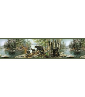 3118-01531B - Birch and Sparrow Wallpaper by Chesapeake-Bear Necessities Mountain Lake Border