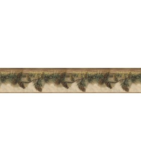 3118-01632B - Birch and Sparrow Wallpaper by Chesapeake-Pine Hill Foliage Border