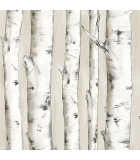 3118-12601 - Birch and Sparrow Wallpaper by Chesapeake-Pioneer Birch Tree