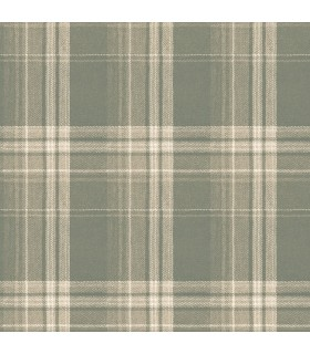 3118-12673 - Birch and Sparrow Wallpaper by Chesapeake-Saranac Flannel Plaid